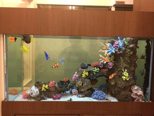 レプリカサンゴと生きたディスクコーラルをレイアウトし、彩り豊かな魚が泳ぐ華やかな水槽に大変